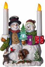 Best Season LED-Tischdekoration Snowman with Candle, ca. 24 x 17 cm, batteriebetrieben, Vierfarb-Karton 990-73