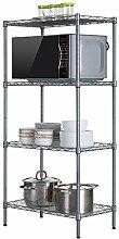 Best Shelves- Kohlenstoffstahl-Metall 4 Tier-Regal-Küchen-Badezimmer-Lagerregal-Regal-Blumen-Speicher-Regal Home Rack (Farbe : Silver Grey)
