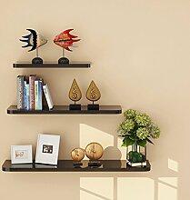 Best Shelves- Set von 3 schwimmenden Wandregale Storage Display Regal moderne einfache Länge 40/50/60cm Home Rack (Farbe : Schwarz)