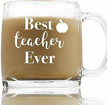 Best Teacher Ever-Kaffeeglas, 368 ml, Kaffeetasse,