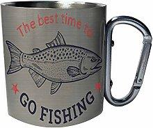 Best Time Go Fishing Salmon Fish Edelstahl