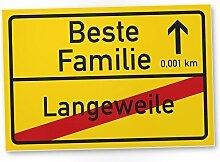 Beste Familie Ortsschild (30 x 20 cm), Kunststoff