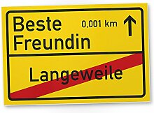 Beste Freundin Ortsschild (30 x 20 cm), Kunststoff