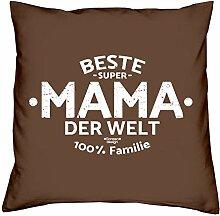 Beste Mama der Welt : Geschenk-Set : Kissen inkl. Füllung und Urkunde als Geschenk : Geschenkidee Muttertag Muttertagsgeschenk 40x40 cm Farbe: braun