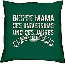 Beste Mama des Universums - Kissen 40x40 inkl. Füllung plus Urkunde :: Bleibendes Geschenk Geschenkidee Geburtstagsgeschenk Weihnachtsgeschenk - Geschenk-SetFarbe:dunkelgrün