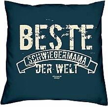 Beste Schwiegermama der Welt - Kissen 40x40 inkl. Füllung plus Urkunde :: Bleibendes Geschenk Geschenkidee Geburtstagsgeschenk Weihnachtsgeschenk - Geschenk-SetFarbe:navy-blau