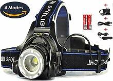 Beste und Hellste Cree Kopflampe   Aufladbare Zoombare LED Kopflampe   Kopf Taschenlampe   Wasserdicht Stoßfest   Verwandeln Sie Schutzhelme und Fahrradhelme in Kopflampen