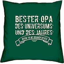 Bester Opa des Universums :: Geschenk-Set : Kissen inkl. Füllung plus Urkunde Persönliche Geschenkidee zum Geburtstag : Bleibendes Geburtstagsgeschenk Farbe:dunkelgrün