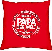 Bester Papa der Welt :: Geschenk-Set: Kissen inkl. Füllung plus Urkunde Bleibende Geschenkidee für Väter zum Geburtstag - Persönliches Geburtstagsgeschenk Farbe:ro