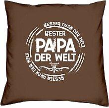 Bester Papa der Welt :: Geschenk-Set: Kissen inkl. Füllung plus Urkunde Persönliche Geschenkidee für Väter zum Geburtstag : Bleibendes Geburtstagsgeschenk Farbe:braun