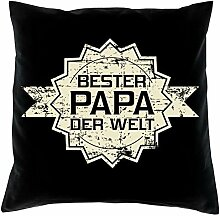 Bester Papa der Welt Stern -:- Kissen + Urkunde
