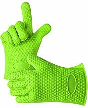 BESTGIFT Silikon Backofen Handschuhe hitzebeständig Silikon BBQ Grill Handschuhe Grillhandschuh Zum Kochen, Backen, Räuchern & Topflappen Schutz Grün