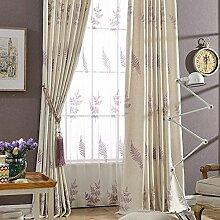 """Bestickte Bettwäsche Baumwolle Farbe Stoff Vorhänge Fenster , Lila , bestickte Tuch 50W x 96""""""""L"""
