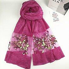 Bestickte Schals Damen Dreidimensionale Stickerei Pfingstrose Blumen Sonnenschutz Klimaanlage Schals Schals , rosaro