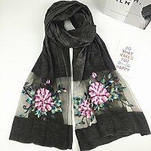 Bestickte Schals Damen Dreidimensionale Stickerei Pfingstrose Blumen Sonnenschutz Klimaanlage Schals Schals , dunkelgrau
