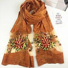 Bestickte Schals Damen Dreidimensionale Stickerei Pfingstrose Blumen Sonnenschutz Klimaanlage Schals Schals , Gelb