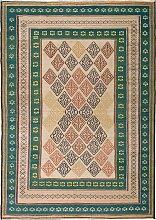 Bestickter nahöstlicher Kilim Teppich in Grün &