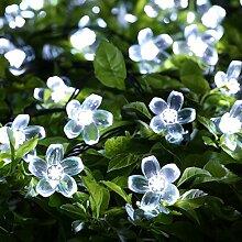 Bestland 50er LED Solar Lichterkette 7 Meter Wasserdicht Weiß Solar Blumen Beleuchtung für Party, Weihnachten, Hochzeit,Outdoor, Fest Deko [Energy class A +++]