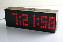 Bestland LED Digital Wecker Wanduhr Tischuhr mit Soft Licht,Große HD-Display,Snooze Funktion,Thermometer Kalender (Rot)