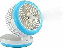 Bestland Mini USB Ventilator mit Beschlagen Kühlung Luftbefeuchter Tragbar Wiederaufladbare Ventilator Tischventilator Lüfter Standventilator für Home Office und Reisen