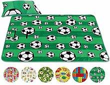 Bestlivings Picknickdecke Fotodruck, Auswahl: Größe - 200x200 cm - inkl. Kissen Design - Fussball, Reiseunterlage Campingdecke Stranddecke