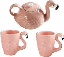 Bestnozon Flamingo-Teekanne und 2 Tassen, aus