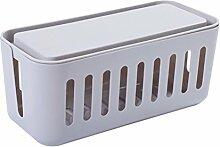 BESTOMZ Kabelverwaltungsbehälter (grau), Streifen-Abdeckungs-Kabel-Organisator Box Handyhalter