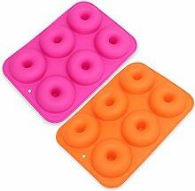 BESTONZON 2 Stücke 6-Cavity Silikon Donut Form,