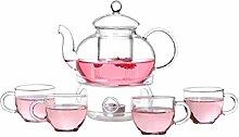 Bestonzon Glas-Teekannen-Set, hitzebeständig,
