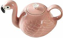 BESTonZON Keramik Flamingo Teekanne