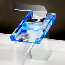 bestreuen Farbwechsel LED Wasserfall Waschbecken Wasserhahn