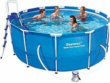 Bestway 56088 Frame Pool Steel Pro Set mit Filterpumpe + Zubehör 366 x 122cm