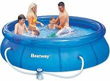 Bestway Fast Set Pool Set mit Filterpumpe, 3638 L, blau, 305 x 305 x 76 cm