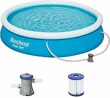 Bestway Fast Set Pool Set, mit Filterpumpe, blau,