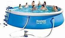 Bestway Fast Set Schwimmbecken Pool aufblasbar +Leiter Abdeckung Pumpe 549x122cm