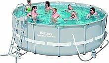 Bestway Frame Pool Power Steel Set mit Filterpumpe und Zubehör, grau, 427 x 122 cm