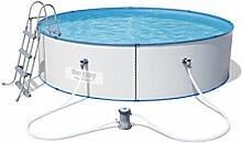 Bestway Hydrium Splasher Stahlwandpool Set, mit Filterpumpe und Leiter, weiß, 360 x 360 x 90 cm