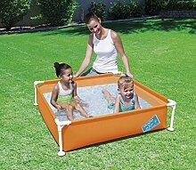 Bestway Mein Erster Schnell angebrachte Rahmen Rechteckig Garten Spritz Schwimm Planschbecken - Orange