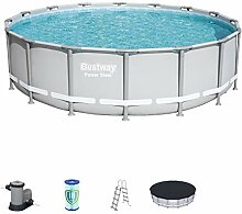 Bestway Power Steel Frame Pool Komplett Set, rund