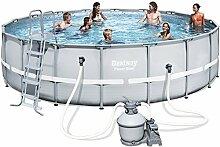 Bestway Power Steel Frame Pool Set, hellgrau, mit Sandfilterpumpe + Zubehör, 549 x 132cm