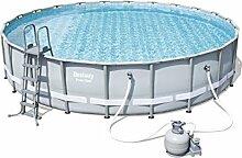 Bestway Power Steel Frame Pool Set, hellgrau, rund mit Sandfilterpumpe + Zubehör, 671 x 132cm