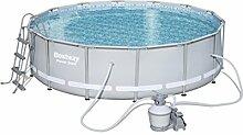 Bestway Power Steel Frame Pool Set, hellgrau, rund mit Sandfilterpumpe + Zubehör, 427 X 107cm
