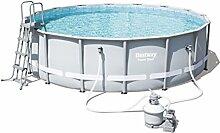 Bestway Power Steel Frame Pool Set mit Sandfilterpumpe + Zubehör, 488 x 122cm