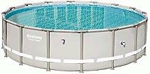 Bestway Power Steel Pool 488 x 122cm Stahlrahmenpool/Framepool, rund, ohne Pumpe und Zubehör, Ersatzteil, 19.480 Liter, grau