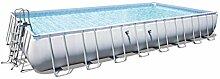 Bestway Power Steel Rectangular Frame Pool, hellgrau, ohne Pumpe, mit Zubehör, 956x488x132cm