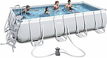 Bestway Power Steel Rectangular Frame Pool Set, hellgrau, mit Filterpumpe + Zubehör 488 X 274 X 122cm