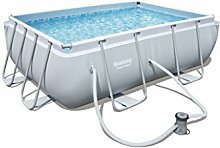 Bestway Power Steel Rectangular Frame Pool Set, hellgrau, mit Filterpumpe, 282x196x84cm