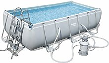 Bestway Power Steel Rectangular Frame Pool Set, hellgrau, mit Sandfilterpumpe + Zubehör, 404 x 201 x 100cm