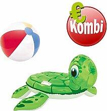 Bestway Schwimmtier Turtle plus aufblasbarer Wasserball Beachball Ball