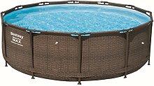 Bestway Steel Pro Max Frame-Pool, rund, 9150 Liter, Rattan-Optik, 366 x 366 x 100 cm ohne Pumpe + Zubehör, Ersatzteil
